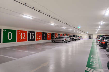 car park interior: Germany, Baden-Baden, November 3 ,2015:Underground parking with an entrance to a casino issued as a roulette Editorial