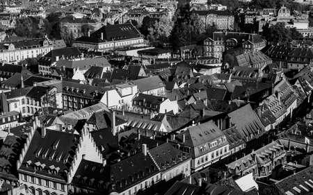 rhine westphalia: Various tiled roofs of historical buildings in Strasbourg city center