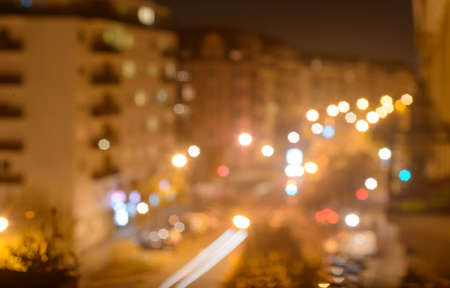 lighhts: Colorful night of abstract bokeh and blured lighhts from Strasburg City street.