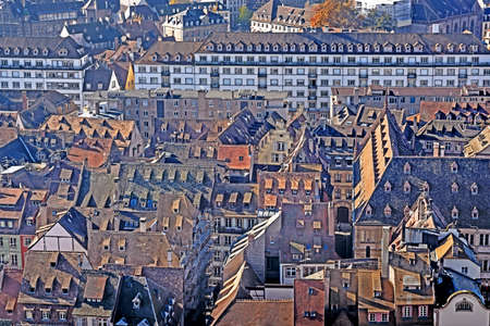 historical buildings: Various tiled roofs of historical buildings in Strasbourg city center