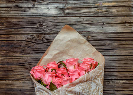 Bouquet Of Gift Wrapped Pink Roses Symbolic Of Love Romance