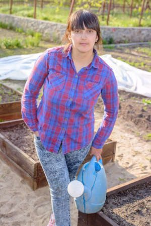 self sufficient: Middle-aged attractive woman doing the watering standing in the vegetable garden amongst raised beds holding a watering can