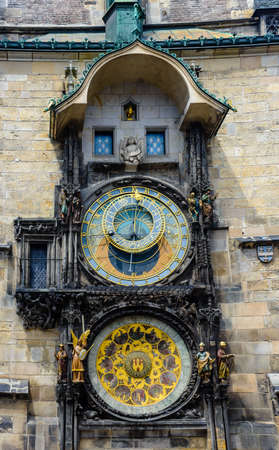 sun dial: Close up of the famous Astronomical Clock, Prague with the astrolabe dial with the signs of the zodiac and position of the sun above a second dial for the procession of the Apostles