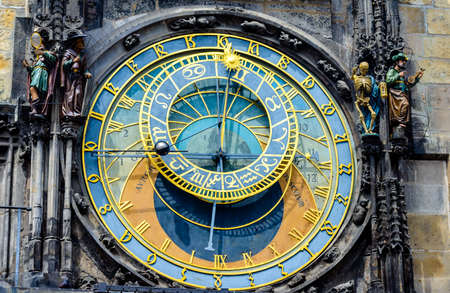 timekeeping: Detail of the ancient medieval astronomical clock Prague, Czech Republic showing the signs of the zodiac, sun and moon