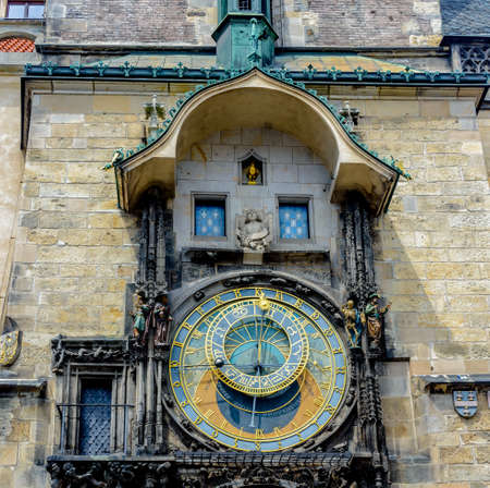 timekeeping: Close up of the famous Astronomical Clock, Prague with the astrolabe dial with the signs of the zodiac and position of the sun above a second dial for the procession of the Apostles