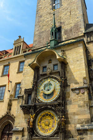 timekeeping: Astronomical clock, Prague , Czech republic with the Church of Our Lady Before Tyn in the background in a close up side angle view