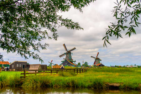 kinetic energy: Leaves from trees surrounding view of old windmills with large bases at farm under partly cloudy skies