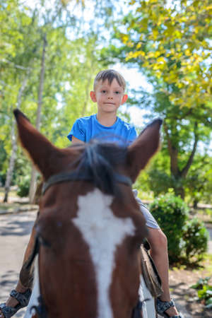 reins: Little boy riding a horse peering over the top of its ears at the camera with a smile as he rides along a leafy road Stock Photo