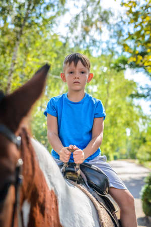 Little boy riding a horse peering over the top of its ears at the camera with a smile as he rides along a leafy road Stock Photo