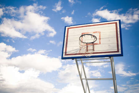 special effect: Basketball hoop with blue sky special effect Stock Photo
