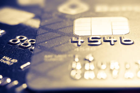 bankcard: Macro credit cards with vintage style Stock Photo