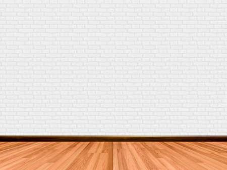 empty room background: Empty room background with wooden floor brick wall.