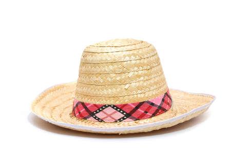 wicker work: sombrero on white background Stock Photo