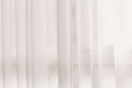 white window: Transparent curtain on window. Curtain background Stock Photo