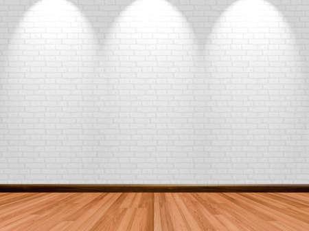 空の部屋の背景に木の床のレンガの壁、スポット ライト。