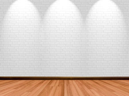 home store: Empty room background with wooden floor brick wall and spotlight.