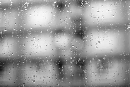 rain window: glass with natural water drops Stock Photo