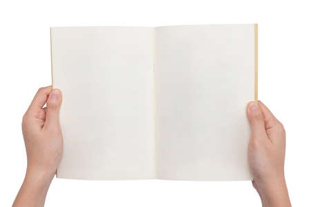 open spaces: overhead view of hands holding a blank book ready with copy space ready for text, isolated on white background, This picture have clipping path for easy to use.