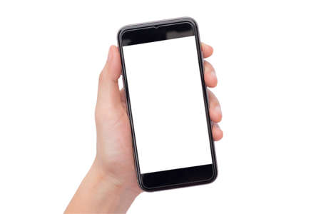 Hand holding black smartphone with blank screen isolated on white background. This picture have two clipping path both screen and hand hold smartphone for ease of use.