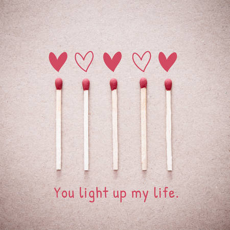 burning love: Burning love match with heart shape fire light with wording You light up my life valentine card design. Vintage effect style picture.