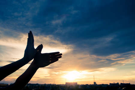 gods: Silhouette human hands shape bird flying over sky and sunset background. Freedom concept.