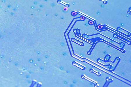 Electronic circuit board close up with copy space for insert text or logo. Business technology concept. Stock Photo