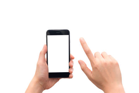 Human hand holding smart phone with blank screen isolated on white background. This picture has clipping path for easy to use. Stock fotó