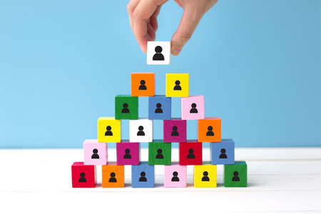 Human resources (HR) and corporate hierarchy concept represented by icon. Choose a new leader of teamwork.