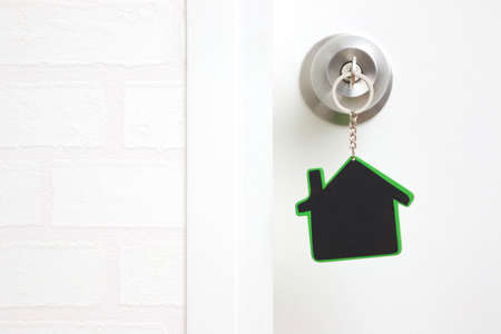 Symbol of the house and stick the key in the keyhole with copy space Reklamní fotografie