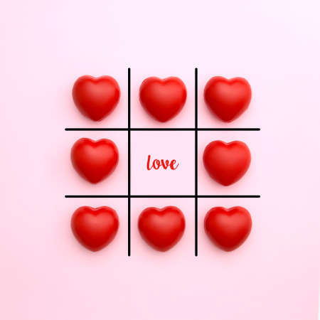 Tick tack toe made from red heart on pink background with love word in middle. Valentines day concept. Minimal style. Stock Photo