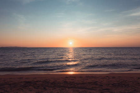 Sunset at the beach in the evening Holiday and Travel Concept