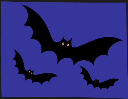 wallparper bats flying for halloween Иллюстрация