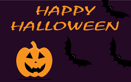 halloween wallpaper with bats and pumpkin