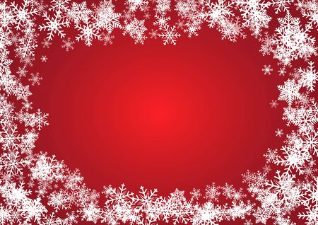 Christmas and happy new year red vector background with snowflake