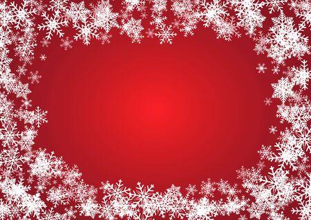Kerstmis en gelukkig nieuwjaar rode vectorachtergrond met sneeuwvlok