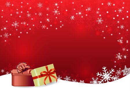 Weihnachten und guten Rutsch ins Neue Jahr roter Vektorhintergrund mit Geschenk
