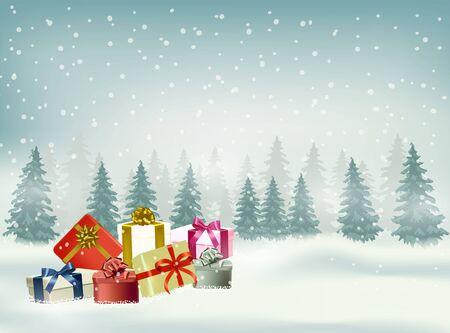 Fondo de vector de Navidad y feliz año nuevo con copo de nieve y regalos en la temporada de invierno