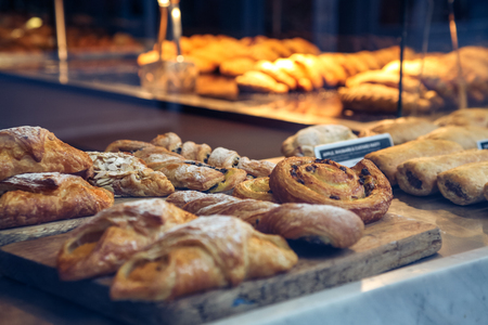 Pastries in a bakery window