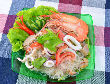 Thai spicy seafood and vermicelli Salad  Stock Photo