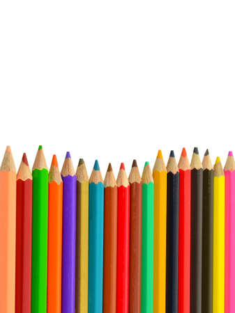 Many-colored pencils isolated on a white background