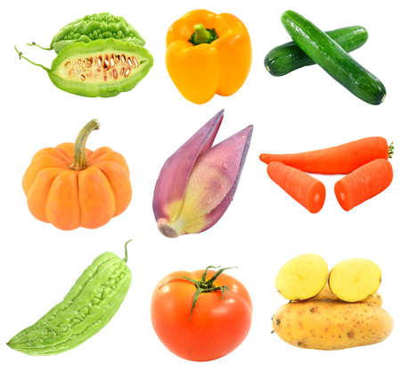 collection vegetables isolated on white background Stock Photo