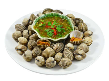 Blood Cockle or scallop with seafood sauce in Thailand