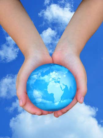 sky globe in hand