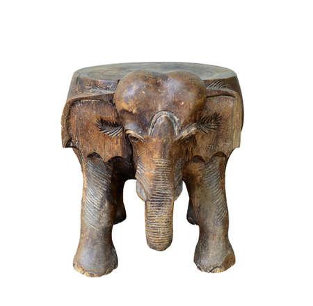 Elephant carved on white. Stock Photo