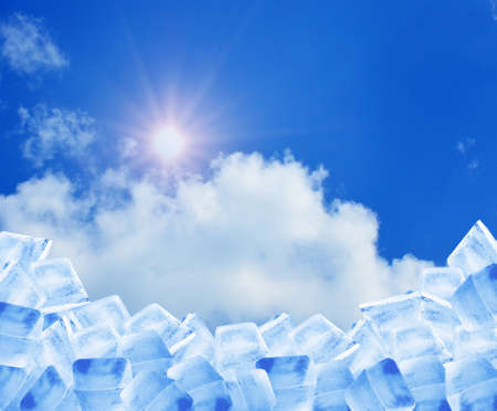 refrigerate: ice cubes in blue sky Stock Photo