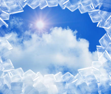 ice cubes in blue sky Stock Photo