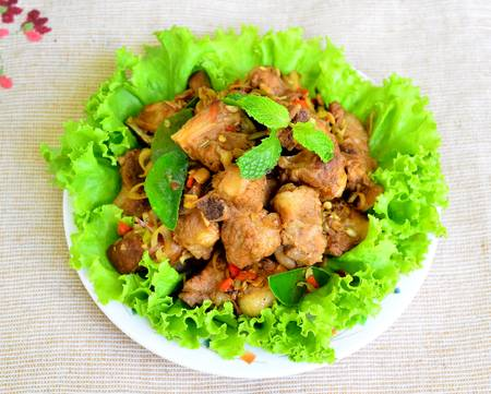 Fried pork with herb photo