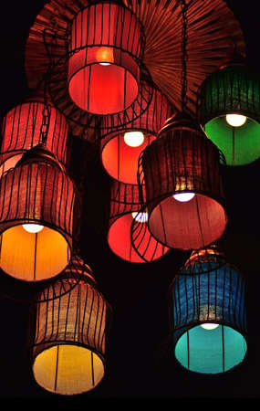 Variety of colorful lamp on the ceiling photo