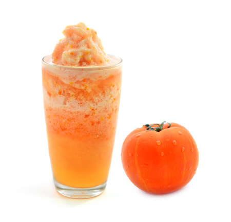 Glass of tomato juice and tomatoes on a white background Stock Photo