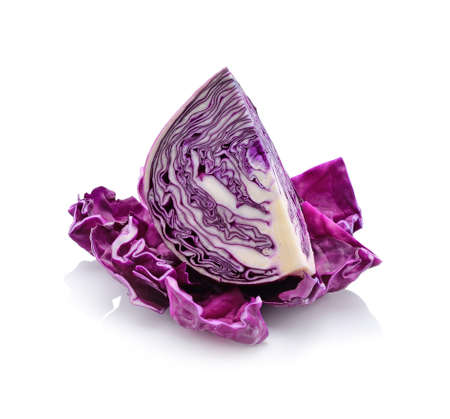 sliced red cabbage isolated on white